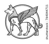 fantastic image of a winged dog ... | Shutterstock .eps vector #764044711