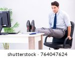 businessman doing sports in... | Shutterstock . vector #764047624