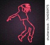 neon light glowing dance girl... | Shutterstock .eps vector #764050975