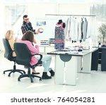 modern designer and his team... | Shutterstock . vector #764054281