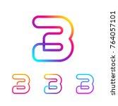 abstract letter b line monogram ... | Shutterstock .eps vector #764057101