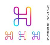 abstract letter h line monogram ... | Shutterstock .eps vector #764057104