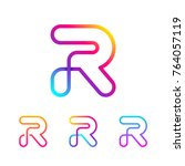 abstract letter r line monogram ... | Shutterstock .eps vector #764057119