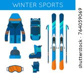 winter sport icons collection.... | Shutterstock . vector #764059069