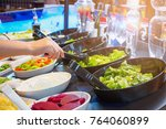 asian woman choosing vegetable... | Shutterstock . vector #764060899