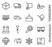 thin line icon set   box ... | Shutterstock .eps vector #764063494