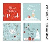 set of 4 cute christmas gift... | Shutterstock . vector #764068165