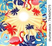 bright tropical flamingo... | Shutterstock .eps vector #764069275