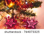 happy new year and christmas... | Shutterstock . vector #764073325