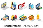 isometric ecommerce elements... | Shutterstock .eps vector #764073424