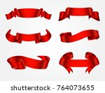 ribbon banner set.vector red... | Shutterstock .eps vector #764073655