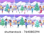 colourful poster of christmas... | Shutterstock .eps vector #764080294