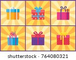 collection of present packages... | Shutterstock .eps vector #764080321