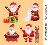santa clauses set of icons.... | Shutterstock .eps vector #764080435