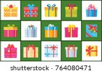 set of christmas parcel package ... | Shutterstock .eps vector #764080471