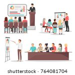 set of business meeting... | Shutterstock .eps vector #764081704