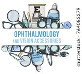 set of medical optometry... | Shutterstock .eps vector #764083279
