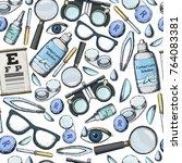 seamless pattern of medical... | Shutterstock .eps vector #764083381
