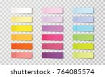 Stock vector post note stickers isolated on transparent background vector color sticky tapes with shadow 764085574