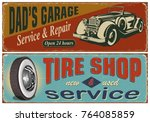 vintage car metal sign... | Shutterstock .eps vector #764085859