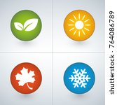 set of season icons in green ... | Shutterstock .eps vector #764086789