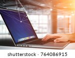 view of a laptop with operating ... | Shutterstock . vector #764086915