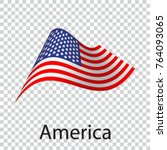 american wavy flag. icon on... | Shutterstock .eps vector #764093065