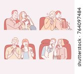 couple characters watching... | Shutterstock .eps vector #764097484