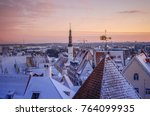 city landscape with snow...   Shutterstock . vector #764099935