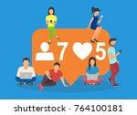 social media bubble flat vector ... | Shutterstock .eps vector #764100181