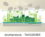 eco industrial factory in a... | Shutterstock .eps vector #764100385