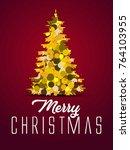 merry christmas pine tree... | Shutterstock .eps vector #764103955