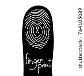 fingerprint scan on finger... | Shutterstock .eps vector #764105089