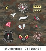 set of women military and army... | Shutterstock .eps vector #764106487