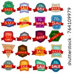 set of twenty discount stickers.... | Shutterstock .eps vector #764109979