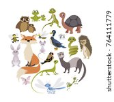 circle of cute animals. mammals ... | Shutterstock .eps vector #764111779