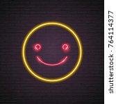 emoji smile symbol icon neon... | Shutterstock .eps vector #764114377