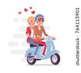 couple in love on scooter.... | Shutterstock .eps vector #764115901