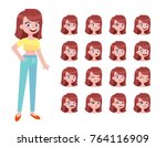 set of woman's face emotions. 3 ... | Shutterstock .eps vector #764116909