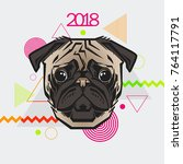 dog is a symbol of the 2018 new ... | Shutterstock .eps vector #764117791