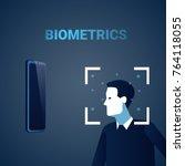 biometric identification male...   Shutterstock .eps vector #764118055