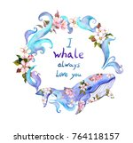 cute whale in flowers with... | Shutterstock . vector #764118157