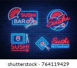 set of logos  signs in neon... | Shutterstock .eps vector #764119429