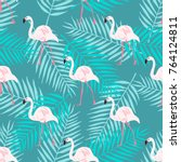 Watercolor Flamingo Seamless...