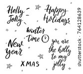 set of winter quotes. holiday... | Shutterstock .eps vector #764128639