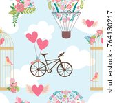 romantic seamless pattern for... | Shutterstock .eps vector #764130217