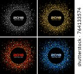 happy new year 2018 card set... | Shutterstock .eps vector #764133574