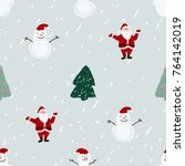 seamless pattern with santa ... | Shutterstock .eps vector #764142019