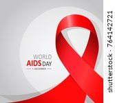 aids day poster with red ribbon | Shutterstock .eps vector #764142721