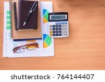 wooden office desk table with... | Shutterstock . vector #764144407